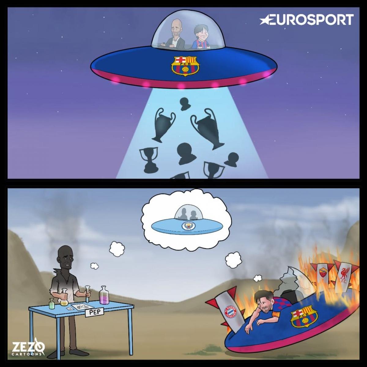 Liệu Messi sẽ tái ngộ với HLV Pep Guardiola tại Man City? (Ảnh: Zero Cartoons).
