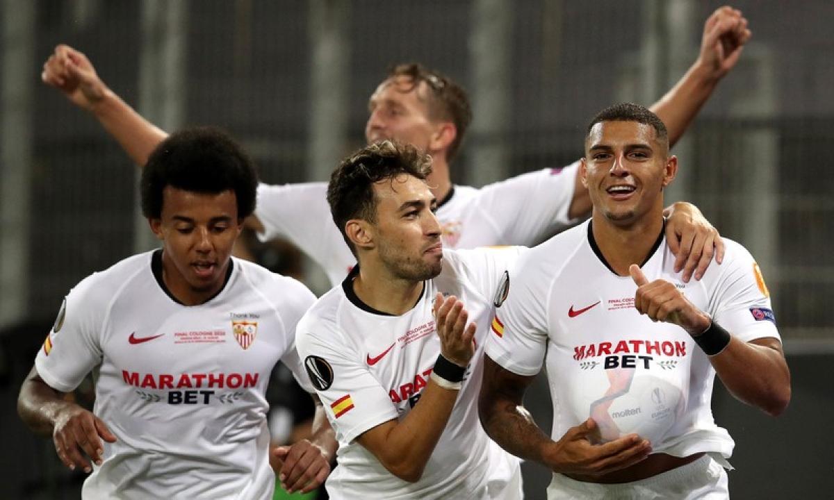 Các cầu thủ Sevilla nằm trong nhóm hạt giống số 1 khi bốc thăm chia bảng Champions League mùa tới. (Ảnh: Getty).