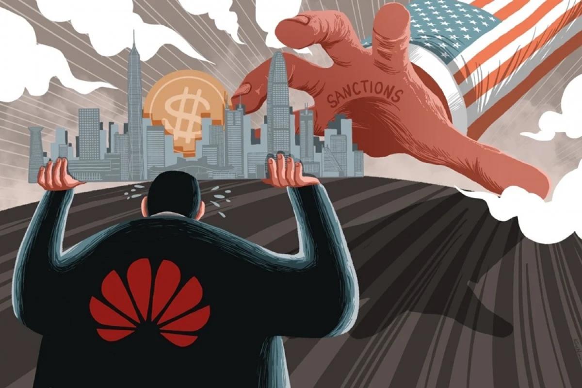 Minh họa về tác động mạnh của lệnh trừng phạt của Mỹ đối với Huawei và kinh tế Thâm Quyến (Trung Quốc). Tranh: Lau Ka-kuen.