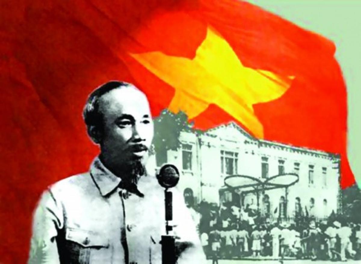 Chủ tịch Hồ Chí Minh đọc bản tuyên ngôn độc lập. (Ảnh đồ họa: Quang Huy)