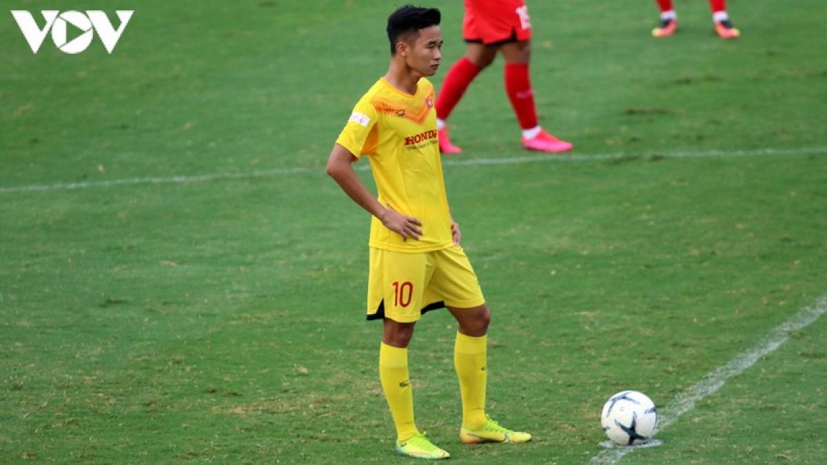 Vũ Minh Hiếu trong đợt tập trung đầu tháng 7 của U23 Việt Nam. (Ảnh: Trần Tiến).