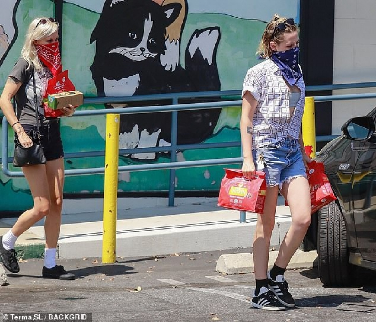Kristen Stewart và bạn gái - nhà viết kịch Dylan Meyer đi mua đồ ăn cho thú cưng ở khu phố Los Feliz, Los Angeles ngày 24/8.