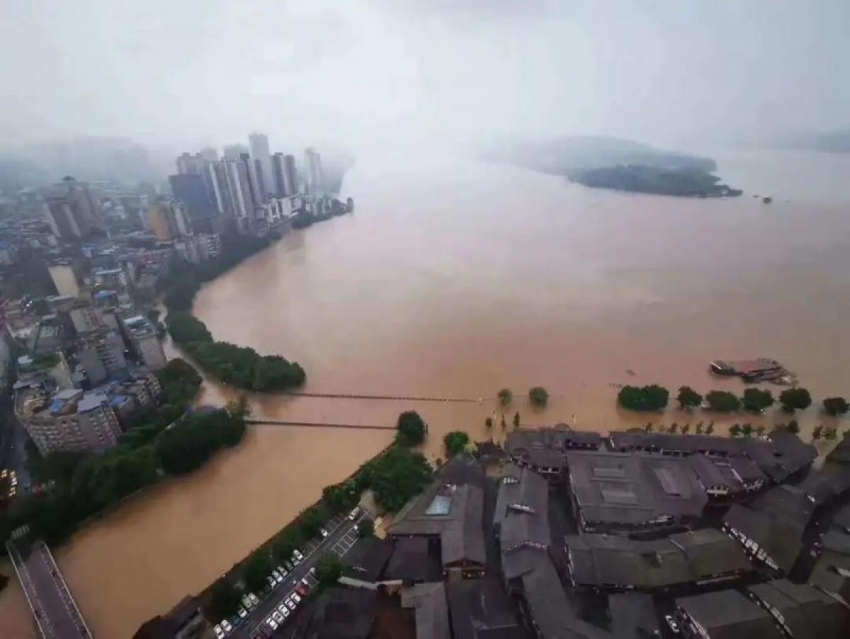 Ngập nặng tại thành phố Trùng Khánh hôm 19/8. Ảnh: Cục Thủy lợi Trùng Khánh.