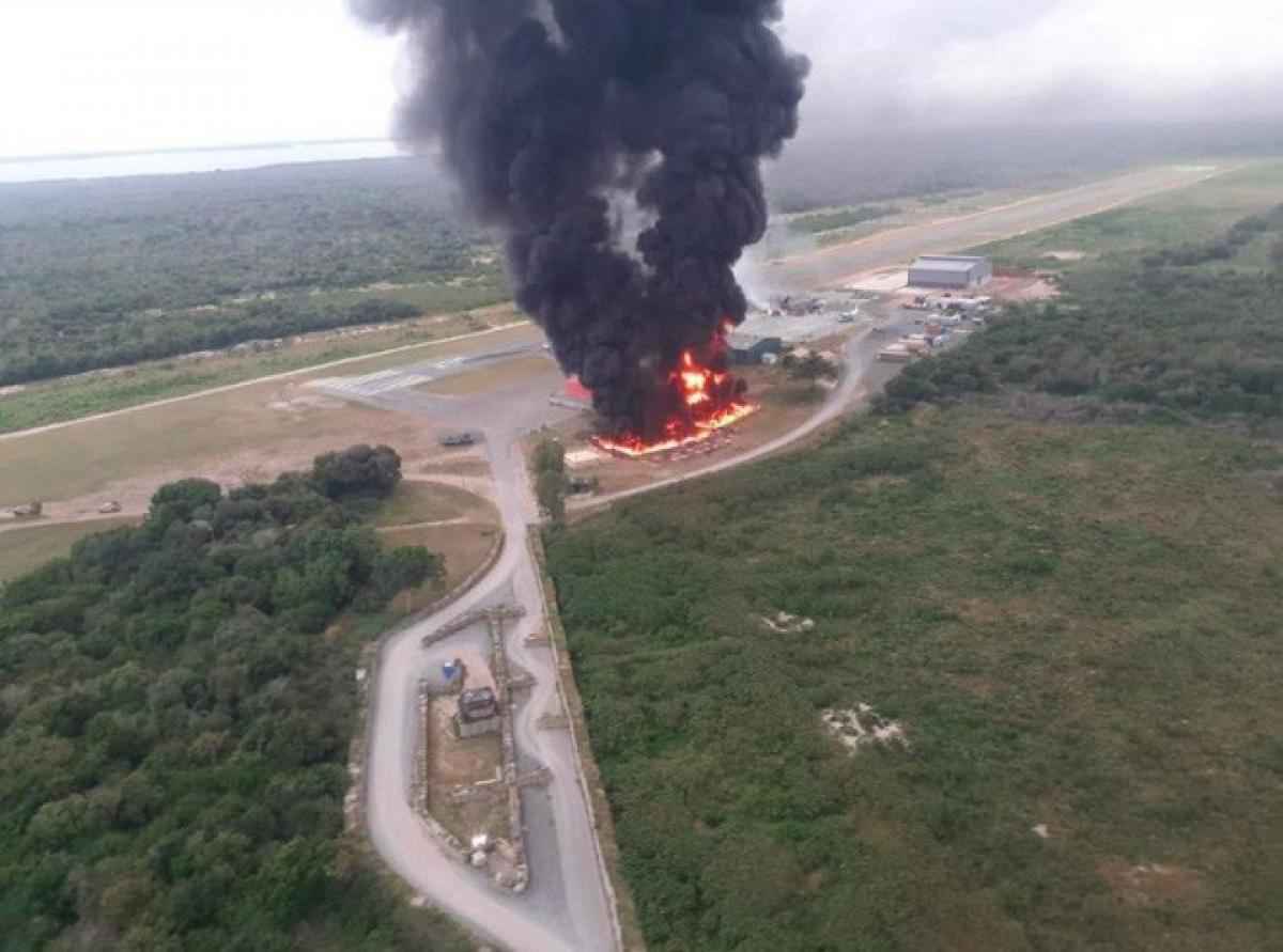 Một vụ nổ tại căn cứ quân sự owe Somali. Ảnh: Al Jazeera.