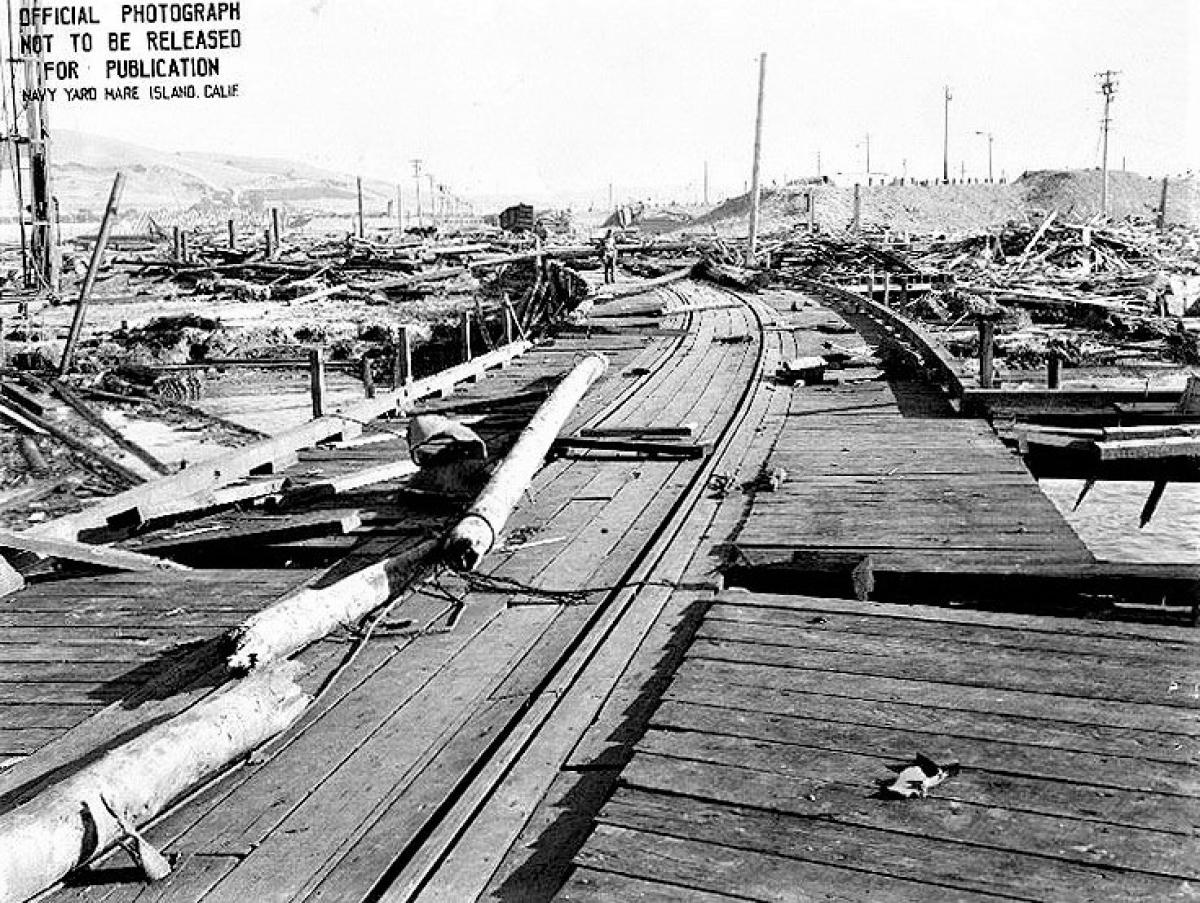 Hiện trường vụ nổ cảng Chicago ngày 17/7/1944; Nguồn: topwar.ru