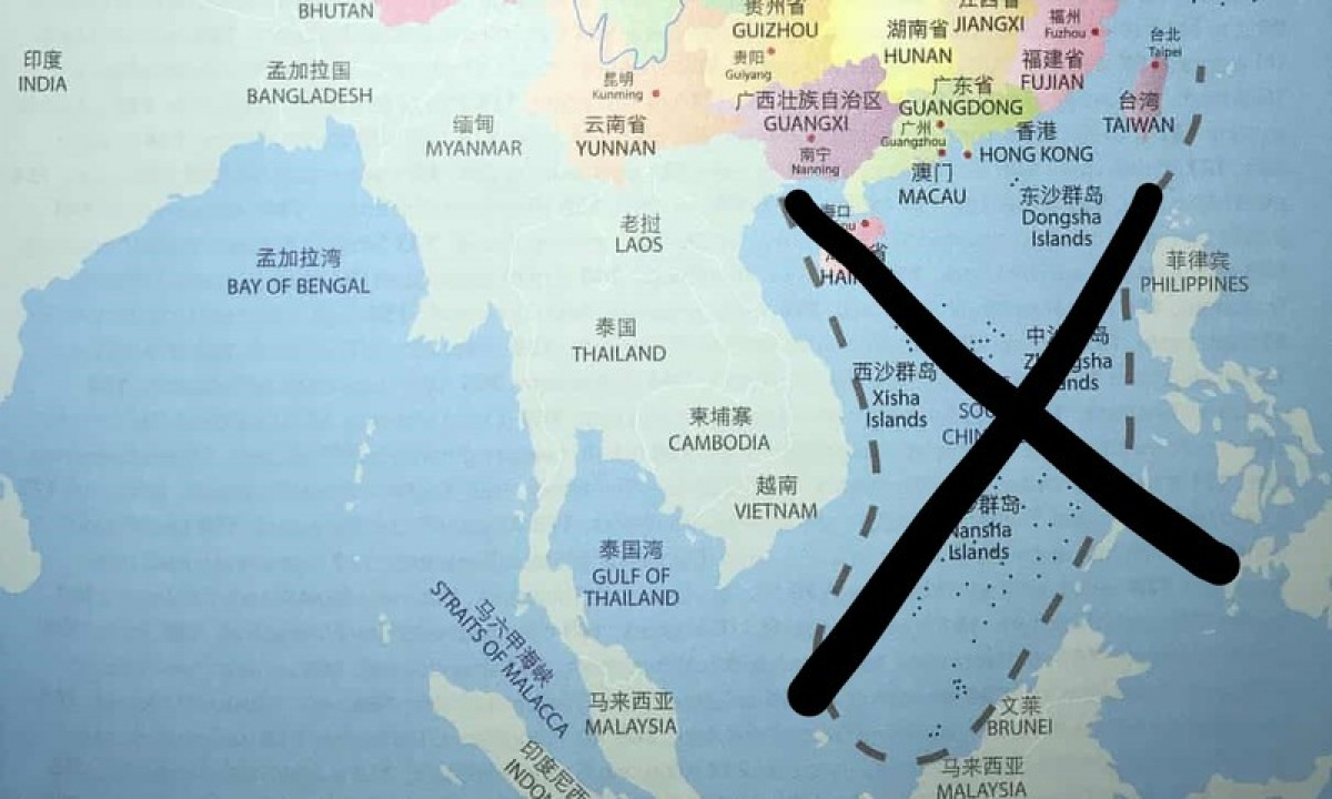 Đây là bản đồ có trong sách vừa bị thu hồi tại Australia. Nguồn: The Guardian.