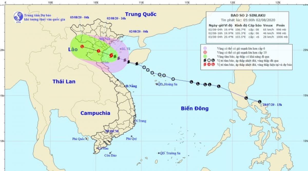 Hình ảnh dự báo hướng di chuyển của bão số 2.