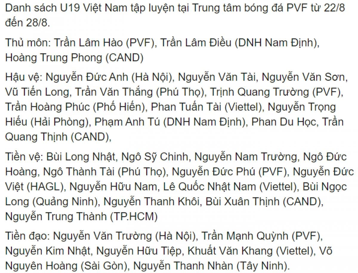 Danh sách U19 Việt Nam tập trung tháng 8/2020 (xếp theo đội bóng hiện tại của các cầu thủ).