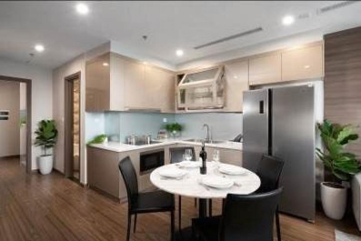 Khu bếp được bàn giao đủ các thiết bị từ bếp điện, mặt bàn lát đá, chậu rửa và máy hút mùi.