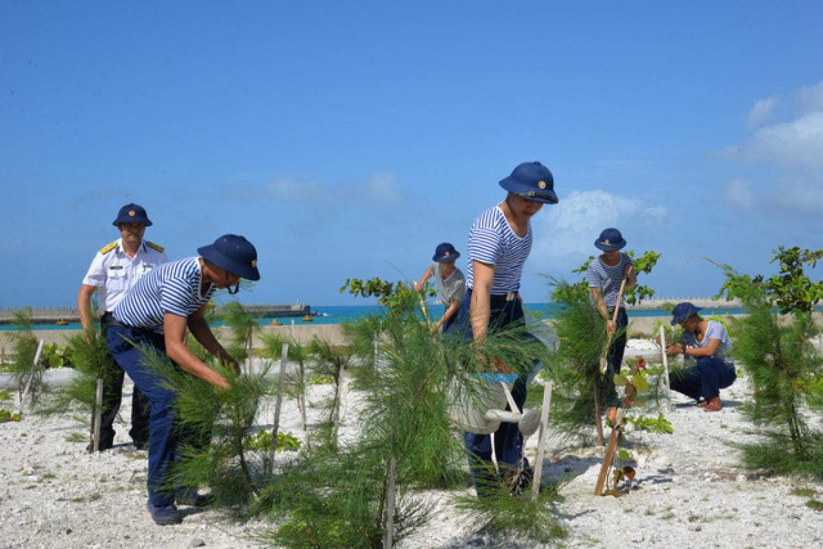 Cán bộ, chiến sĩ đảo Đá Tây trồng cây xanh.