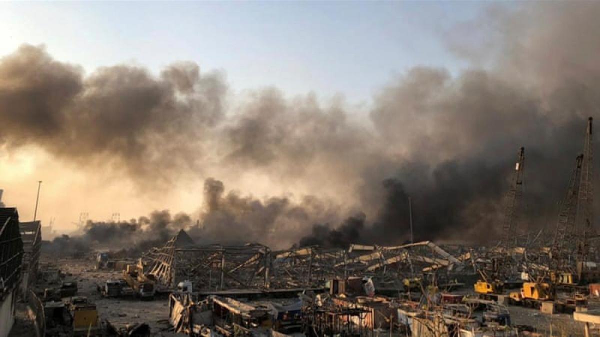 Nổ lớn tại thủ đô Lebanon (Ảnh: Skynews)