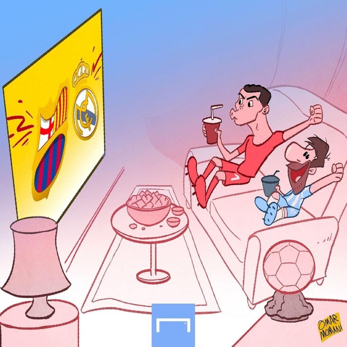 Messi và Ronaldo cùng nhau ngồi xem El Clasico mùa tới? (Ảnh: Omar Momani)