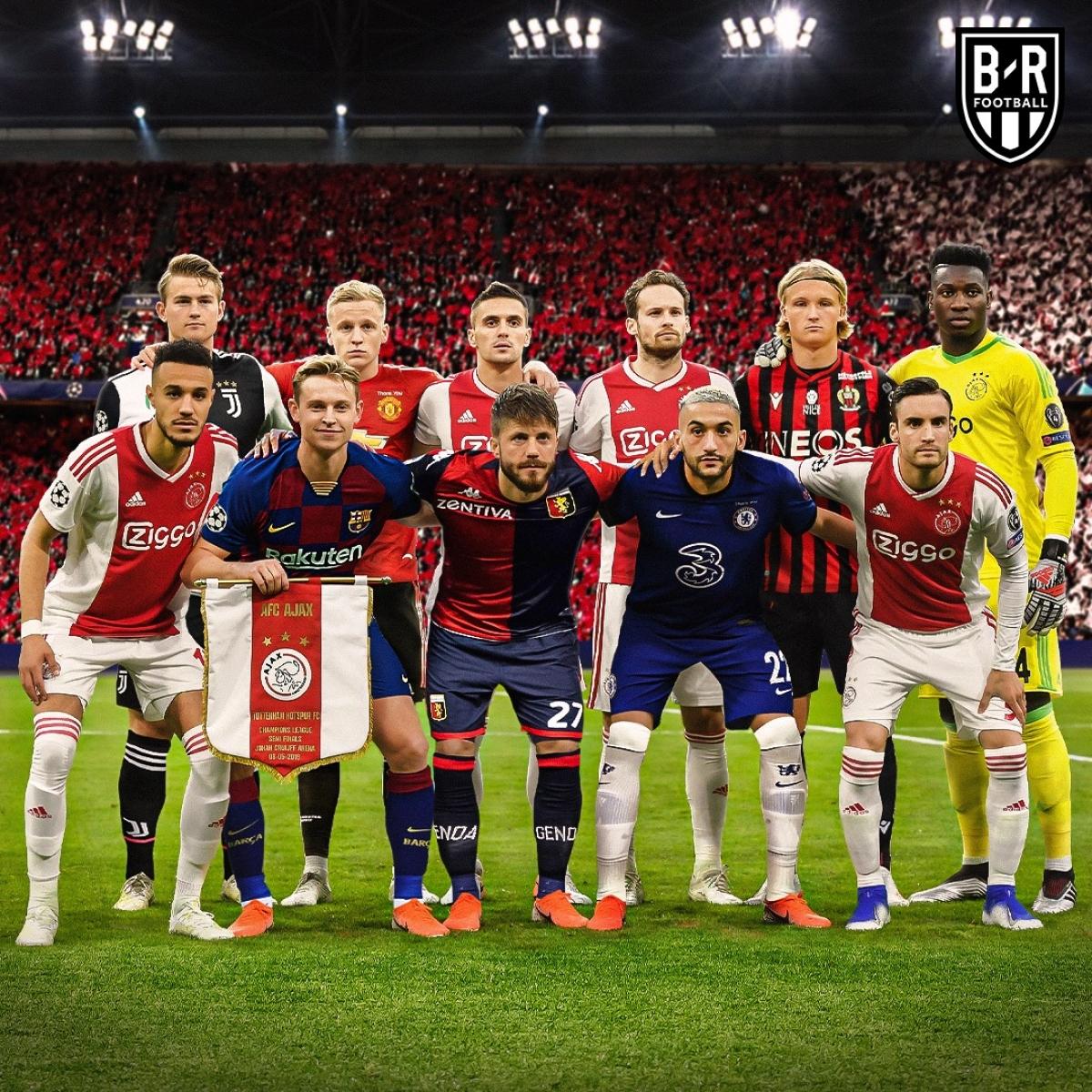 Đội hình Ajax vào đến bán kết Champions League giờ chỉ còn 5 người ở lại. (Ảnh: Bleacher Reports)