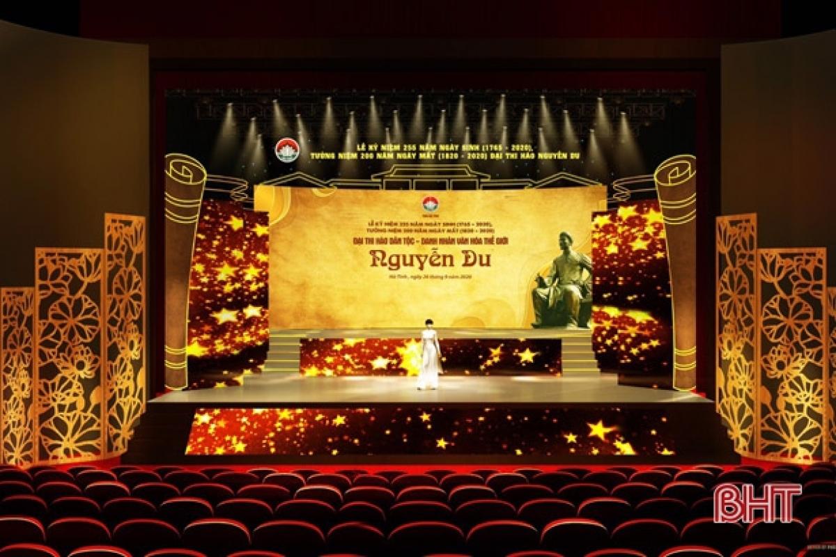 Market sân khấu lễ kỷ niệm 255 năm ngày sinh, 200 năm ngày mất Đại thi hào Nguyễn Du. Ảnh: Báo Hà Tĩnh.