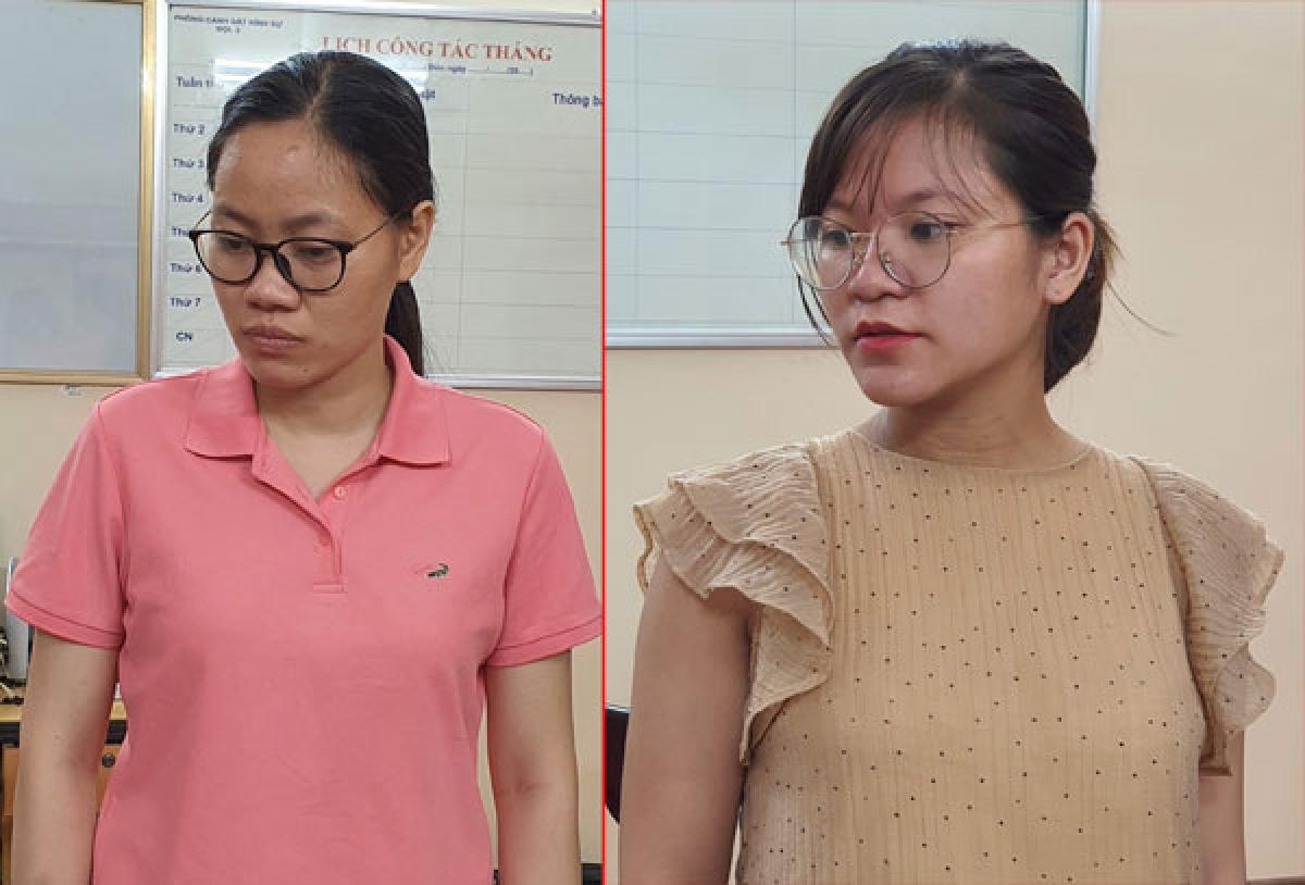 Đối tượng Nguyễn Thị Hồng Trang (áo hồng) và đối tượng Lương Thị Bích Thư.