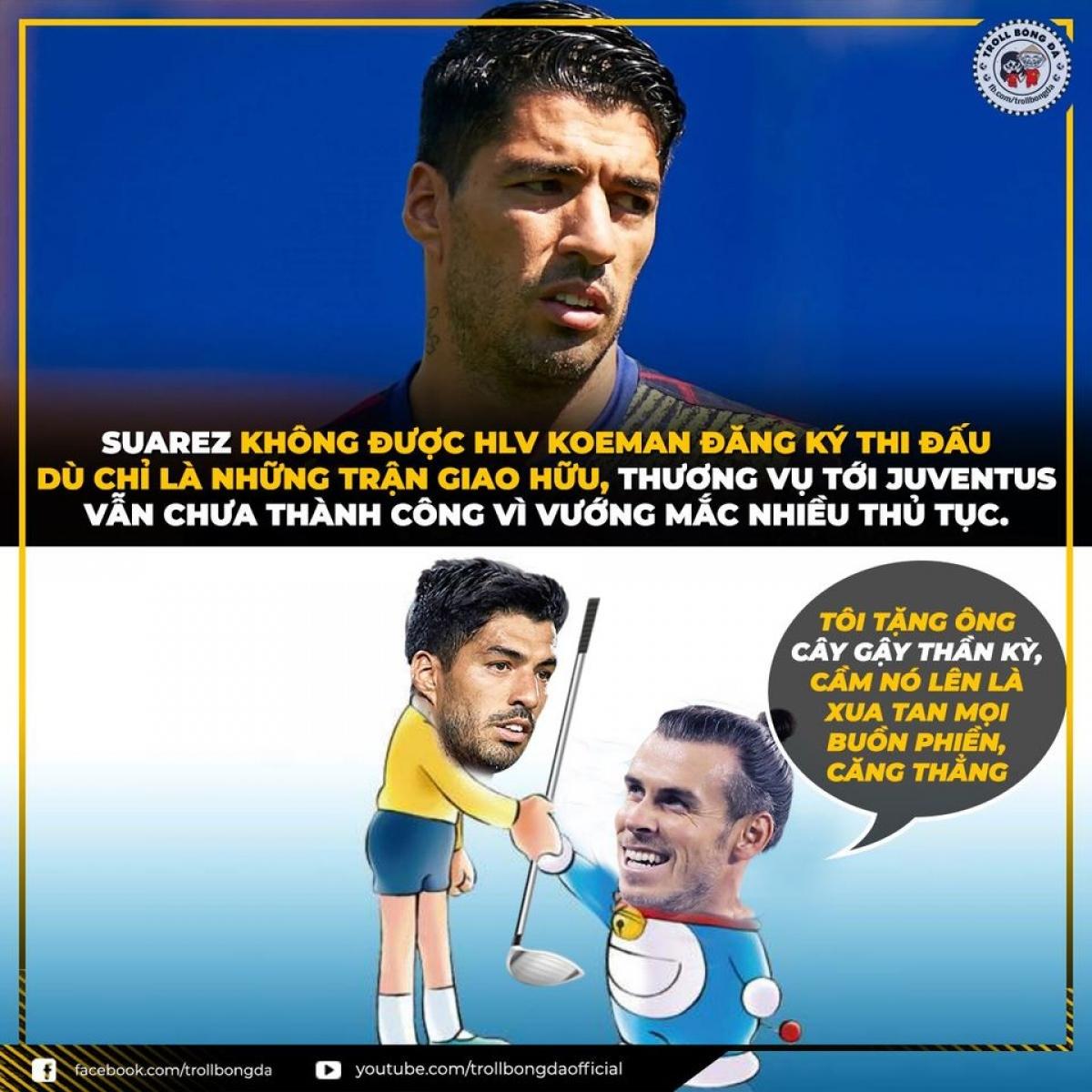 Suarez nên học Bale cách đánh golf nếu muốn rời Barca. (Ảnh: Troll bóng đá).
