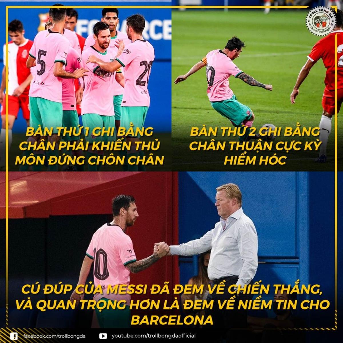 Tình hình của Barca đang dần tốt lên khi Messi chơi ổn trong những trận giao hữu trước mùa giải. (Ảnh: Troll bóng đá).
