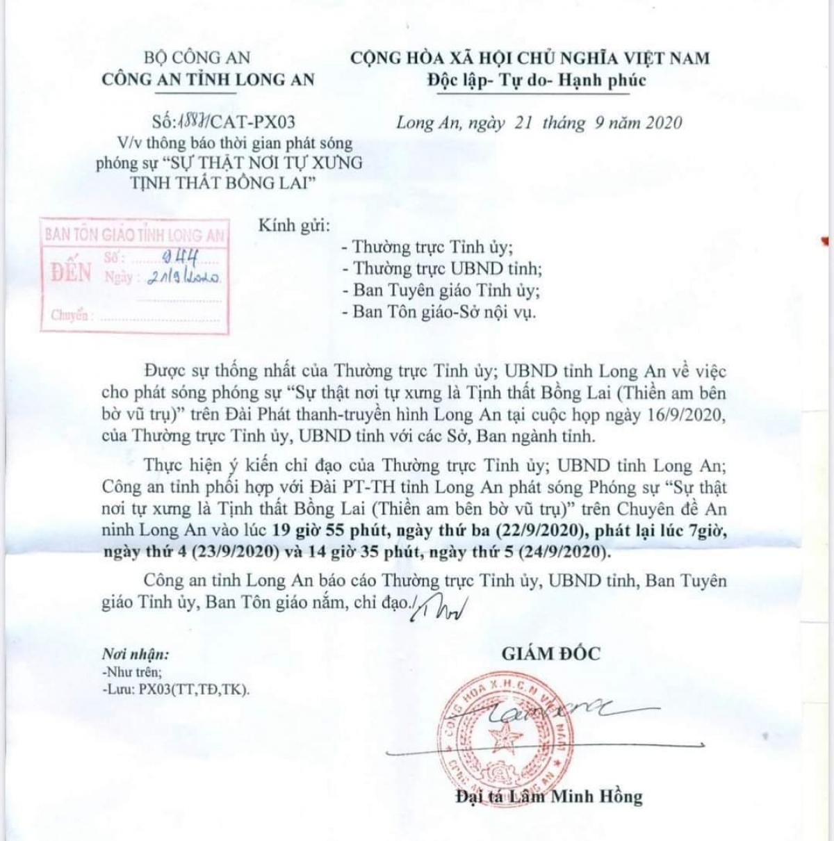 """Công an tỉnh Long An thông báo phát sóng phóng sự nhan đề """"Sự thật nơi tự xưng """"Tịnh thất Bồng Lai"""" vào tối 22/9/2020 trên Đài Truyền hình tỉnh"""