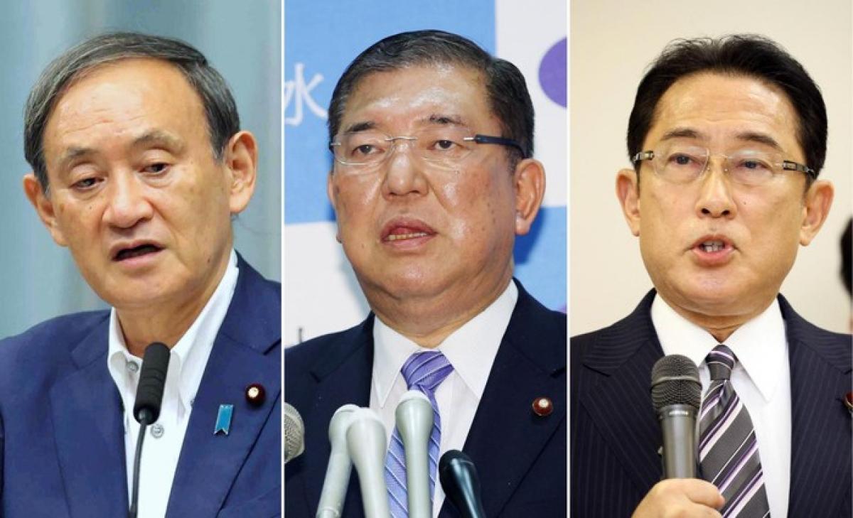 Từ trái sang: Chánh văn phòng Nội các Suga Yoshihide, cựu Bộ trưởng Quốc Phòng Ishiba Shigeru và cựu Ngoại trưởng Kishida Fumio. Ảnh: Korea Herald