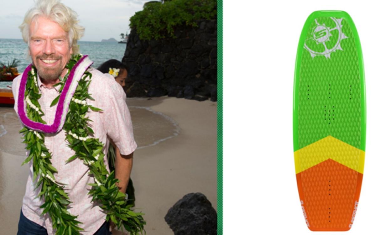 Tỷ phú Richard Branson - ông chủ Tập đoàn Virgin - là tín đồ của lướt ván diều và càng dễ dàng thỏa mãn đam mê khi sở hữu hòn đảo riêng ở Anh. Chiếc ván trượt ông Branson sử dụng lúc tiếp cựu tổng thống Mỹ Barrack Obama đến chơi đảo Necker là sản phẩm của thương hiệu Slingshot Dwarfcraft. Nó có giá 699 USD (16 triệu đồng). (Ảnh: CNBC)
