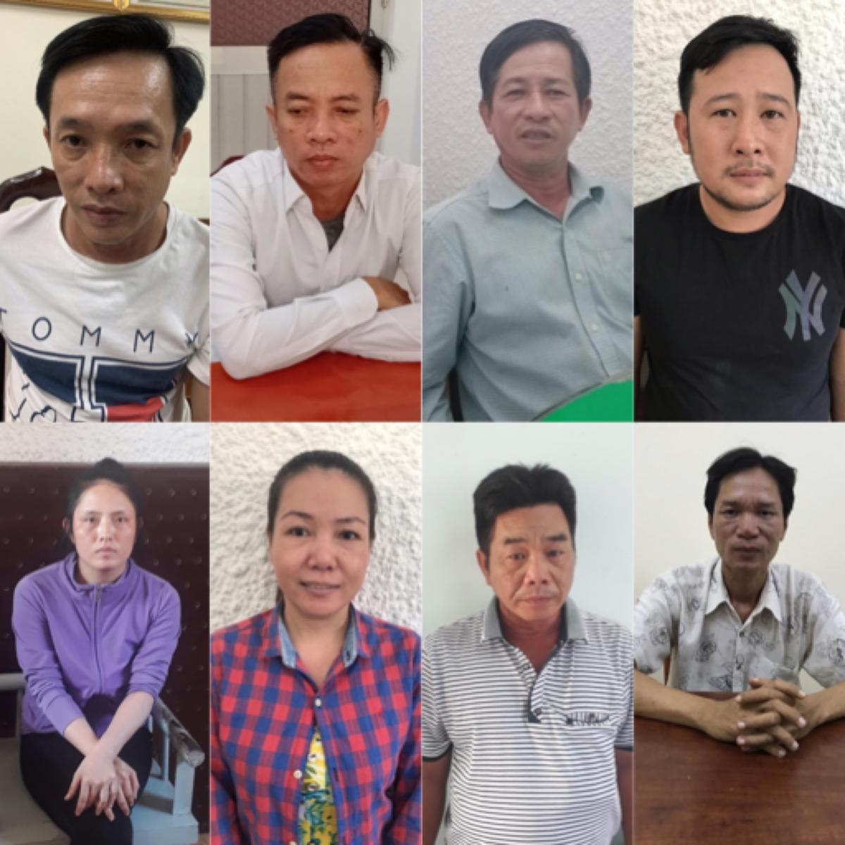 Nhóm 8 nghi can lừa đảo bị bắt giữ.
