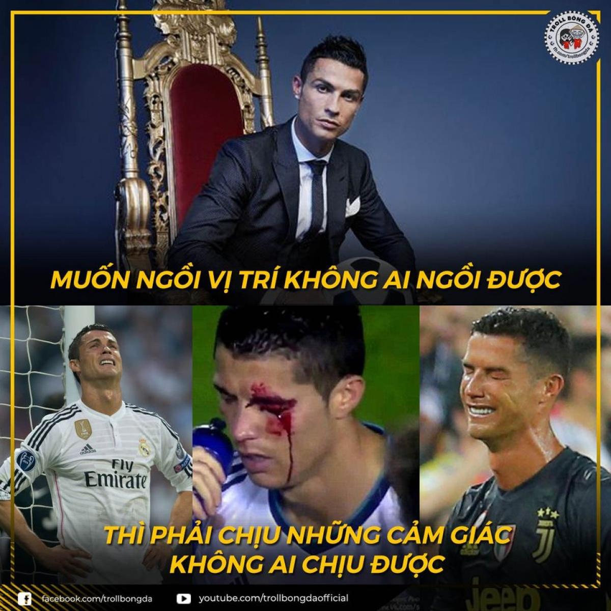 Để có được thành công, Ronaldo đã trải qua nhiều khó khăn, vất vả trong sự nghiệp. (Ảnh: Troll bóng đá).