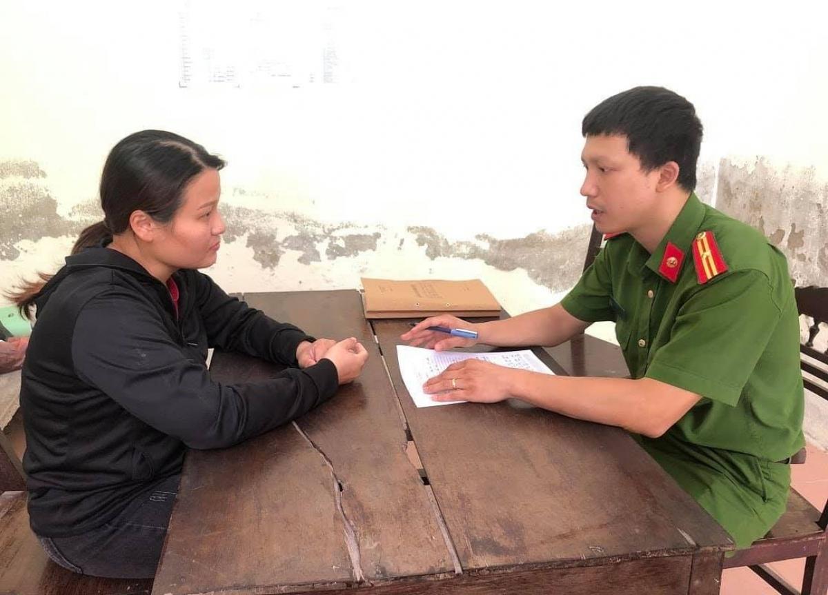 Uông Thị Trang tại cơ quan điều tra.