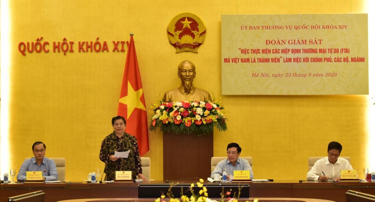 Phó Chủ tịch Thường trực Quốc hội Tòng Thị Phóng phát biểu tại buổi làm việc. Ảnh: VGP