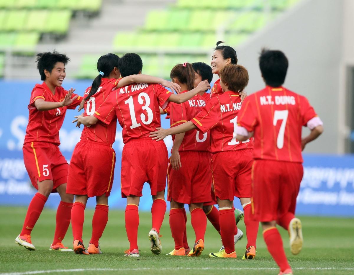 ĐT nữ Việt Nam đạt thành tích lịch sử ở ASIAD 2014. (Ảnh: VFF).