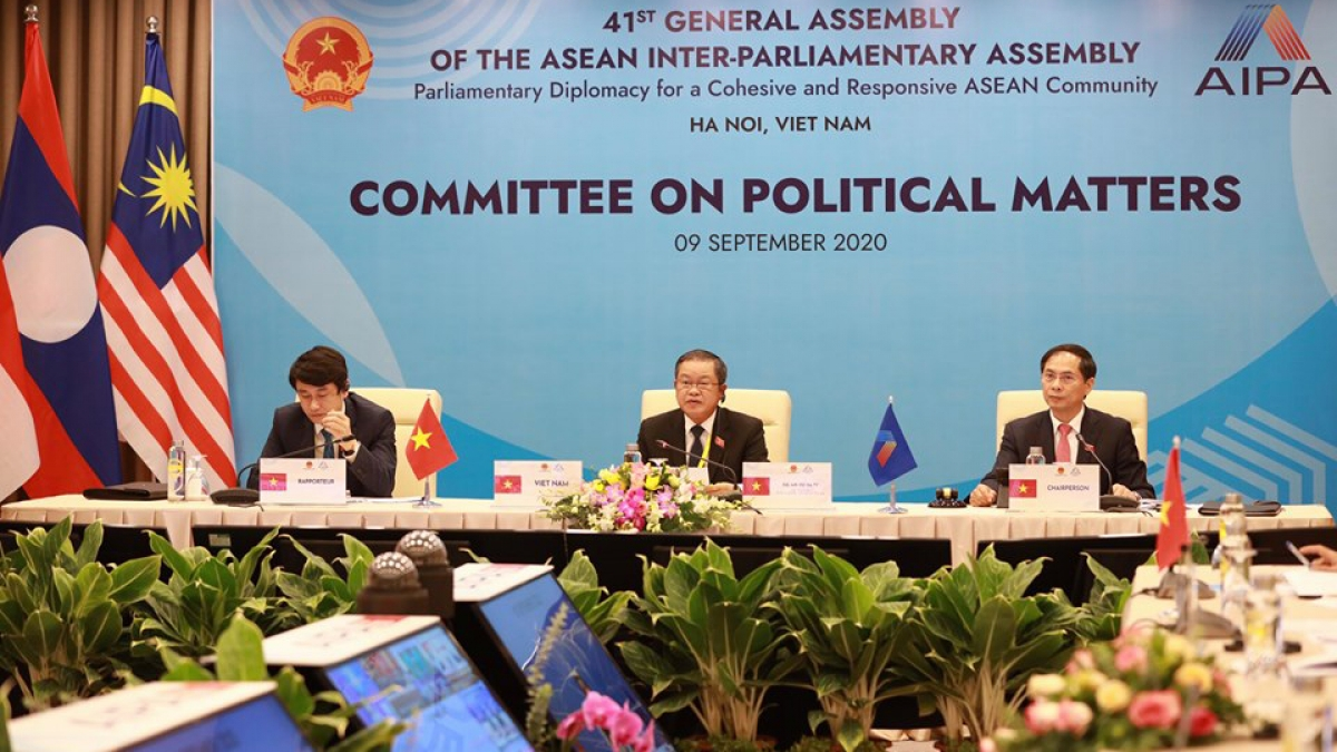 """Phiên họp của Ủy ban Chính trị với chủ đề """"Ngoại giao nghị viện vì hòa bình và an ninh bền vững trong ASEAN"""""""