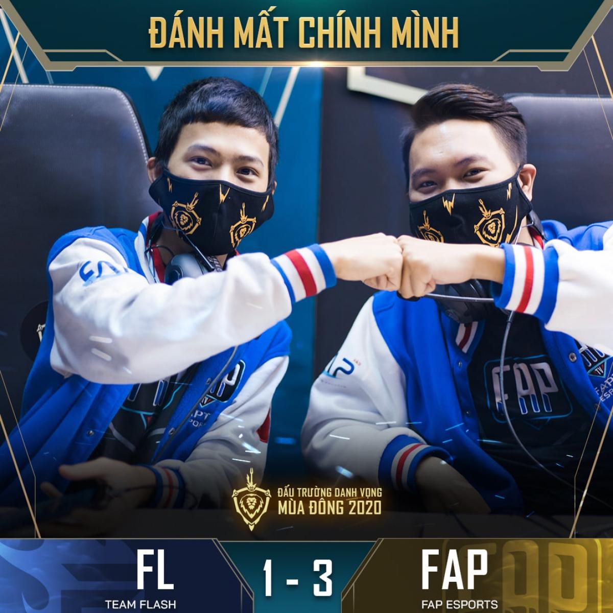 KhiênG (Vương Trung Khiên) cùng WhiteT (Lê Quyết Thắng) có ngày thi đấu tỏa sáng giúp FAP eSports giành chiến thắng thuyết phục 3-1 trước ĐKVĐ Team Flash. (Ảnh: Cao thủ Liên quân).