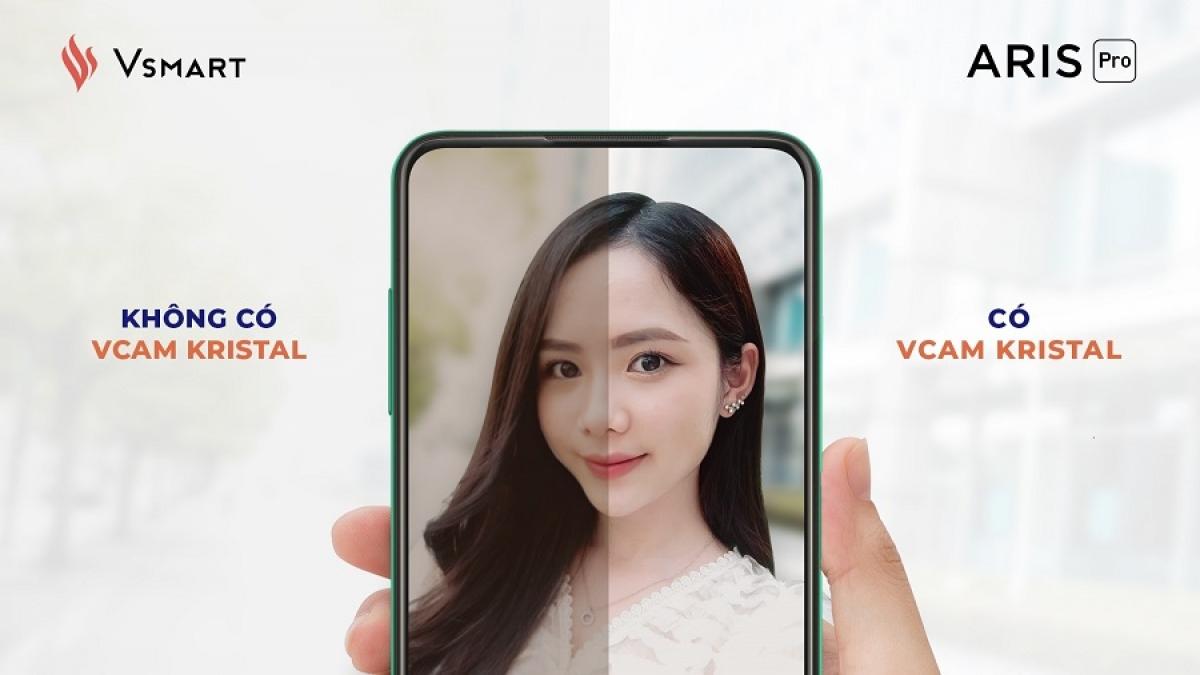 Công nghệ xử lý ảnh Vcam Kristal sẽ loại bỏ các hiện tượng ảnh mờ, thiếu, nhiễu và loé sáng, màu sắc thiếu trung thực...giúp tạo ra những bức ảnh selfie sắc nét