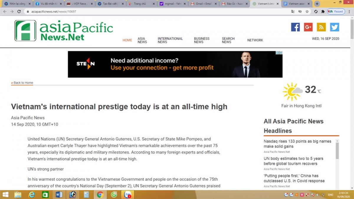 Bài viết được đăng tải trên báo Asiapacificnews của Úc ngày 15/9