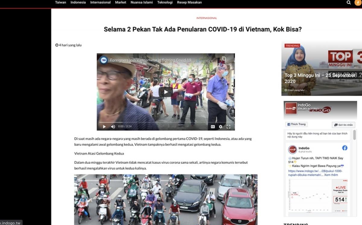 Báo Indogo của Indonesia phản ánh về việc chống dịch Covid-19 (ảnh chụp màn hình).