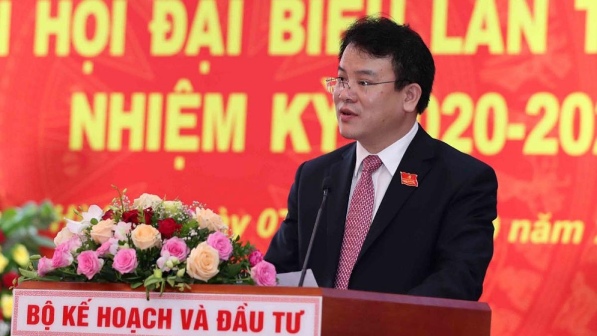 Tân Bí thư Đảng ủy cơ quan, Thứ trưởng Trần Quốc Phương phát biểu tại Đại hội. Ảnh: Bộ Kế hoạch và Đầu tư
