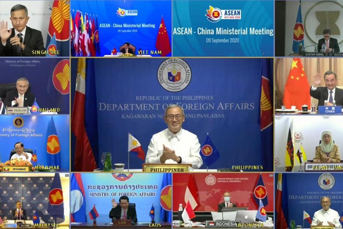 Hội nghị Bộ trưởng Ngoại giao ASEAN-Trung Quốc ngày 9/9. (Nguồn: ABS-CNB News)