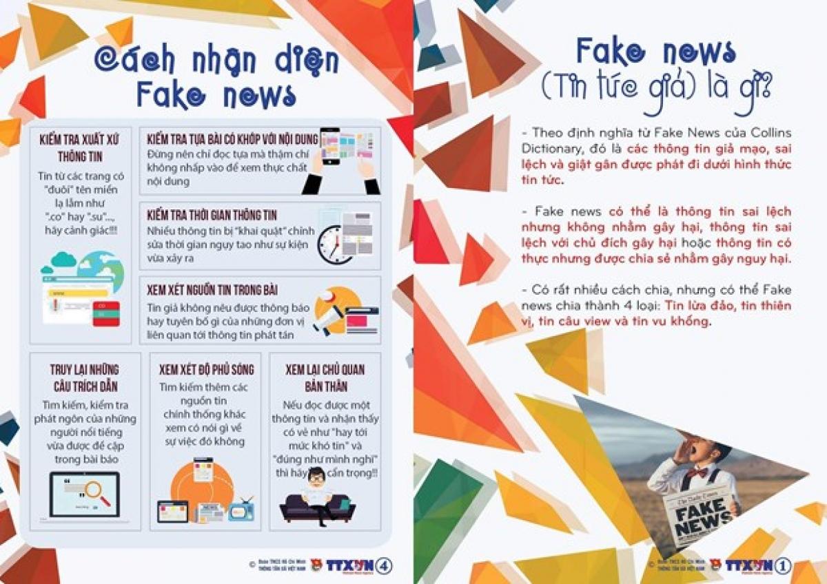 Tờ rơi Nói không với Fake News. (Nguồn: Vietnam+)