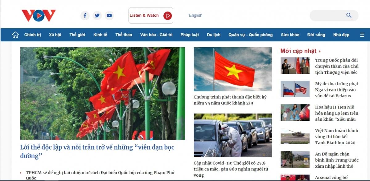 Giao diện mới của Báo Điện tử VOV ra mắt vào dịpkỷ niệm 75 năm thành lập Đài Tiếng nói Việt Nam.