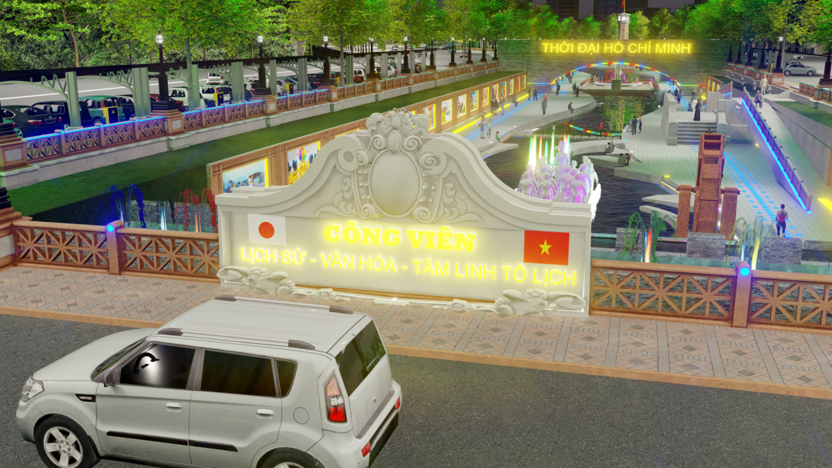 """Mô phỏng công viên Lịch sử-Văn hoá-Tâm linh Tô Lịch"""" tương lai."""