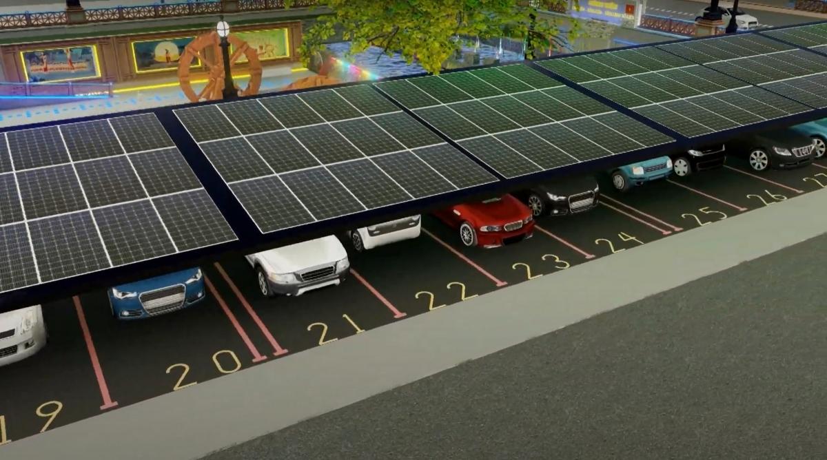 Hệ thống bãi đỗ xe tự động, tích hợp các tấm pin năng lượng mặt trời công nghệ Nhật Bản sẽ góp phần giảm chi phí điện chiếu sáng cho hệ thống đèn ở công viên.