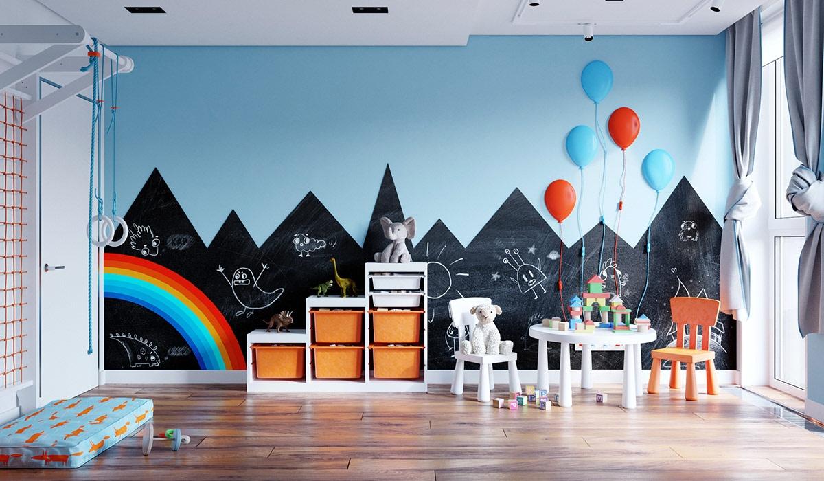 Các gam màu cam xen kẽ trong khu vực vui chơi, cung cấp thêm năng lượng cho căn phòng.