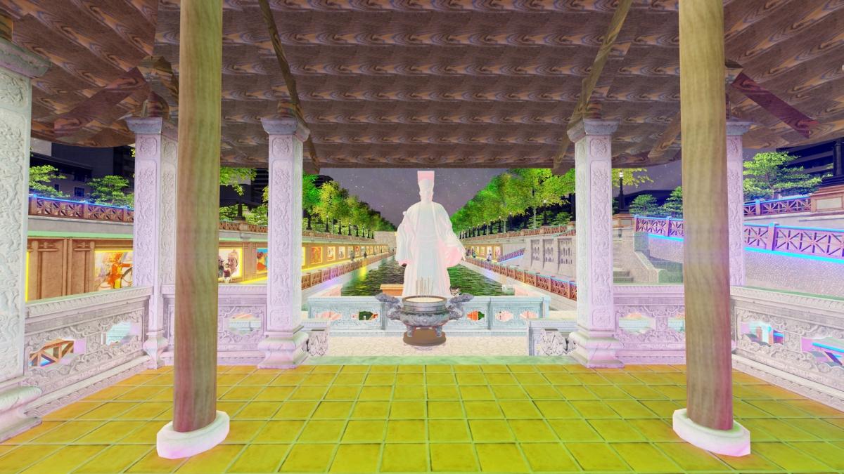 """Cảnh quan Tượng đài Vua Lý Thái Tổ tại khu """"Lầu Vọng Nguyệt""""."""
