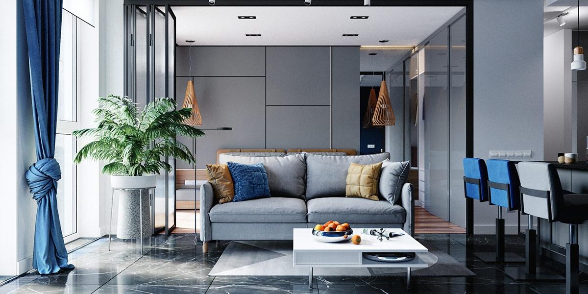 Căn hộ sở hữu tổng diện tích 62m2, nên chủ nhà sử dụng nhiều tường kính để có thể mở rộng hoặc ngăn cách không gian khi cần.