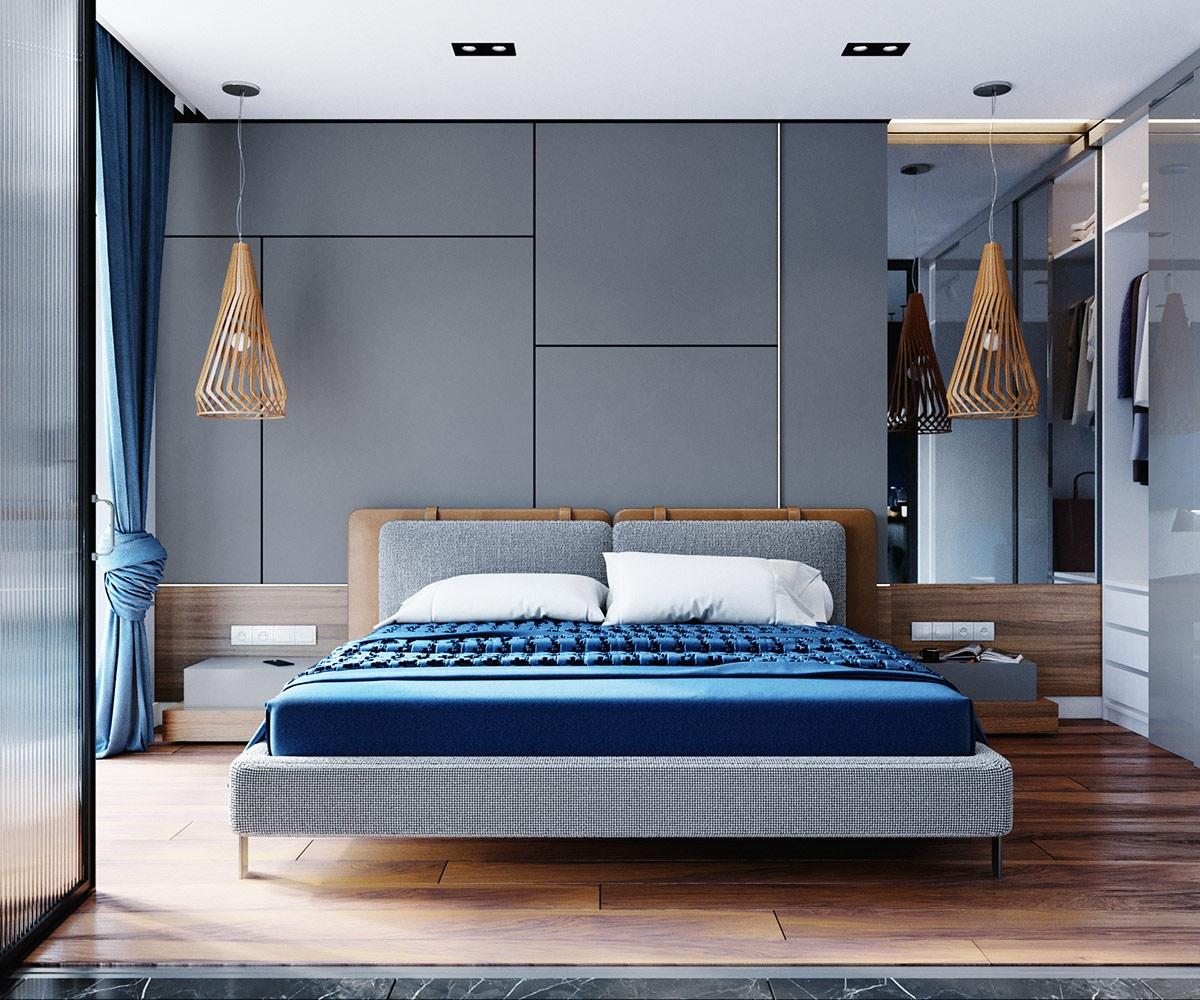 Đèn, sàn gỗ góp phần làm ấm khu vực ngủ nghỉ.