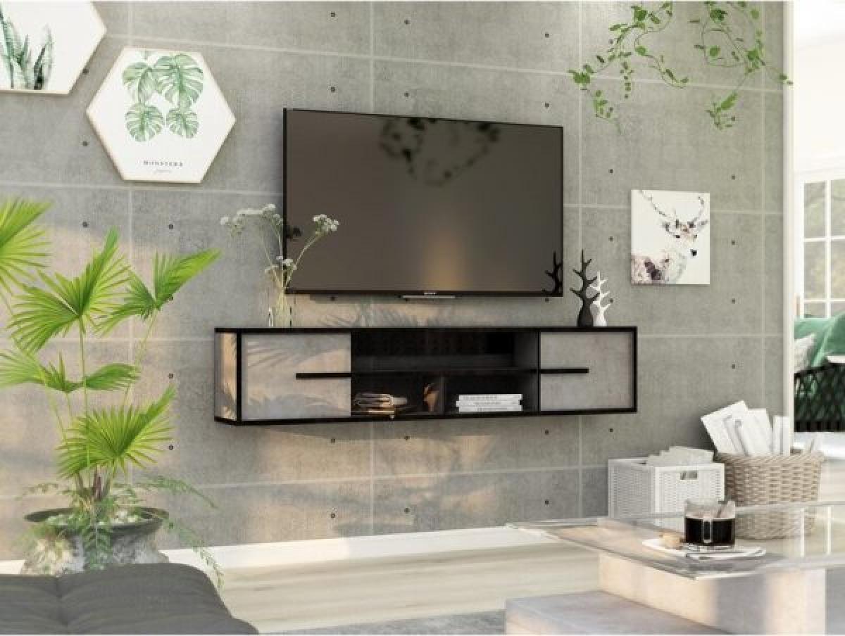 Đường viền màu đen đi cùng khung màu trắng, tạo sự đồng bộ giữa giá và chiếc tivi.