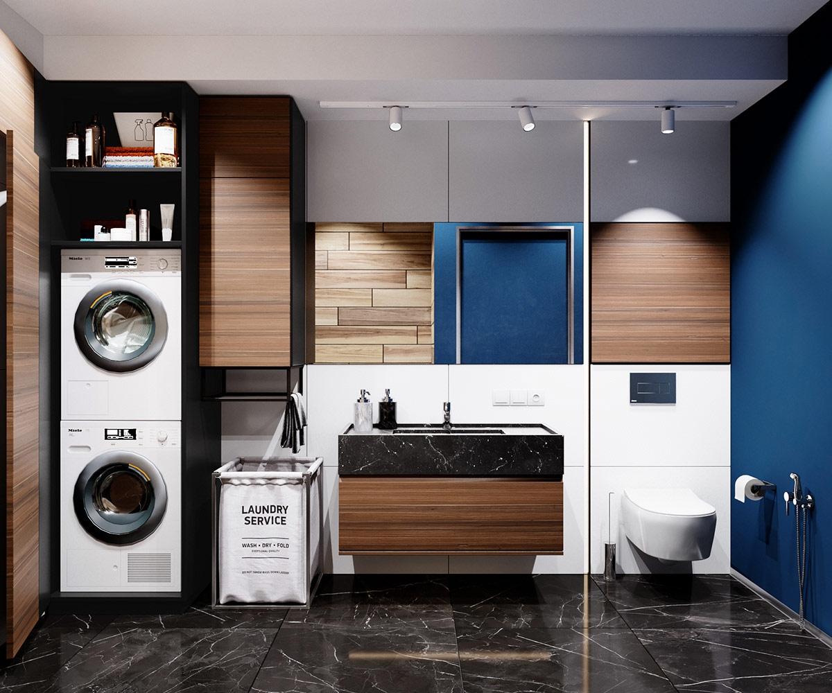 Phòng tắm kết hợp với phòng giặt tiện nghi.