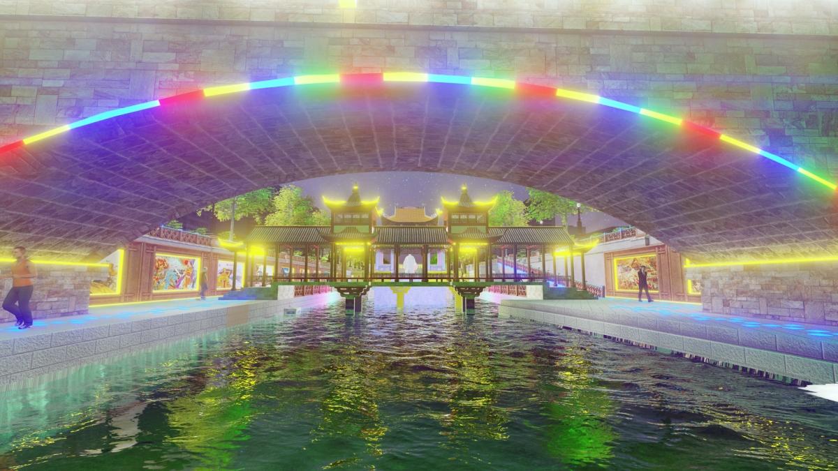 """Suốt dọc dòng sông có xây dựng các """"Lầu Thủy đình"""" hay còn gọi là """"Lầu Vọng Nguyệt"""" để mỗi người dân Thủ đô cũng như Du khách có thể trải nghiệm dịch vụ Du lịch Tâm linh tới các đền, chùa, thăm quan vãn cảnh trên Thuyền rồng bắt đầu từ khu Lầu Vọng Nguyệt thời Nhà Lý cho đến cuối sông. Đặc biệt, suốt dọc dòng sông có tượng đài của các vị Vua sáng lập nên các Triều đại trong lịch sử, khu vực quảng trường và tượng đài Chủ tịch Hồ Chí Minh cùng các vị anh hùng dân tộc để người dân có thể tưởng nhớ và bày tỏ lòng thành kính với các bậc tiền nhân, vĩ nhân đã xây dựng và bảo vệ Đất nước ta từ ngàn đời nay. Ảnh: Cảnh quan khu vực """"Lầu Vọng Nguyệt"""" Triều đại Nhà Lý tại Công viên Tô Lịch tương lai"""