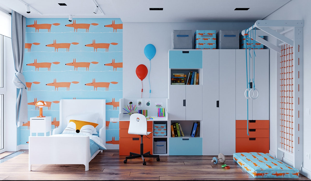 Cũng là gam màu xanh dương quen thuộc nhưng trong phòng trẻ em, gam màu này được tôn lên sáng và trẻ trung hơn.