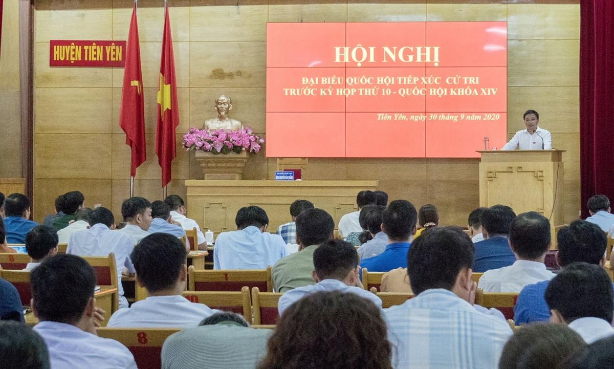 Trưởng Đoàn ĐBQH Quảng Ninh Nguyễn Văn Thắng nhấn mạnh cơ hội phát triển của Ba Chẽ, Tiên Yên trong thời gian tới.