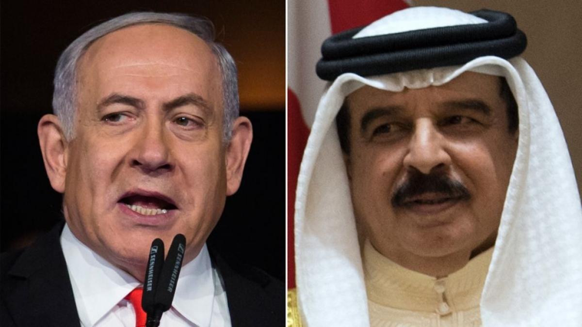 Thủ tướng Israel Benjamin Netanyahu và Quốc vương Bahrain Hamad bin Isa bin Salman Al Khalifa. Ảnh: Reuters